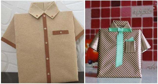 Как завернуть подарок мужчине в виде рубашки 97