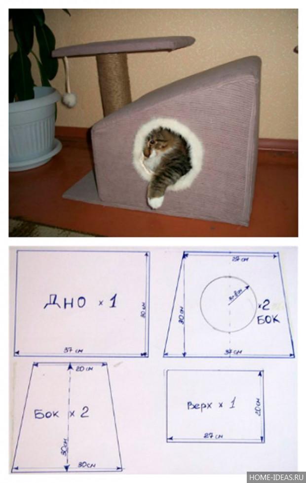 Размеры домика для кошки своими руками