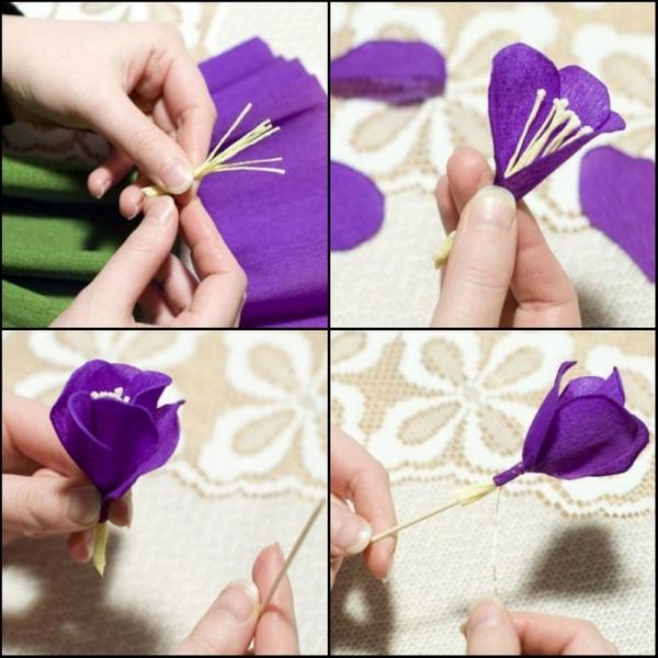 Цветочки из гофрированной бумаги пошагово