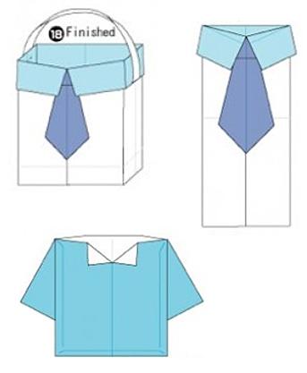 Упаковка подарка в рубашку с галстуком