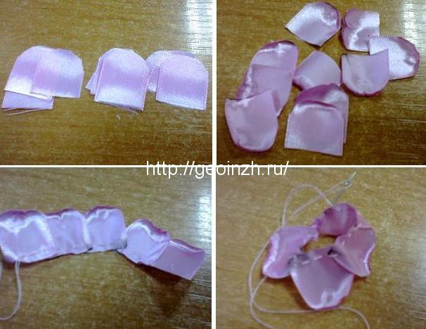Цветы сакура из атласных лент