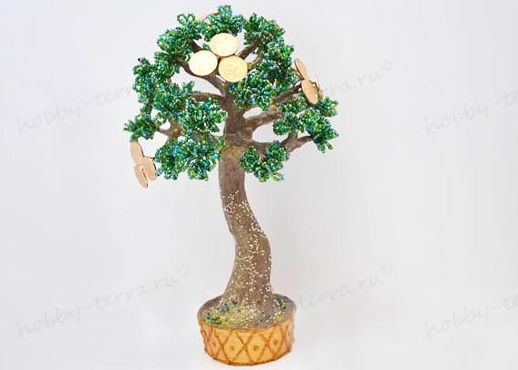 Дерево из бисера с монетами мастер класс с пошаговым фото