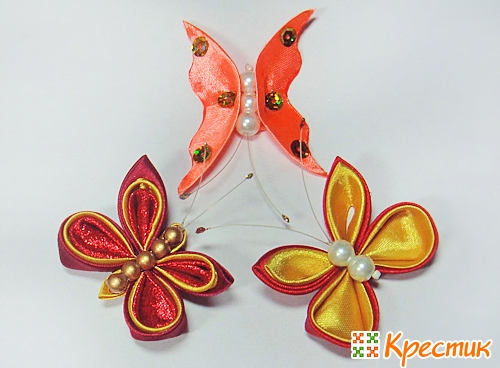 Бабочка из атласной ленты своими руками мастер класс