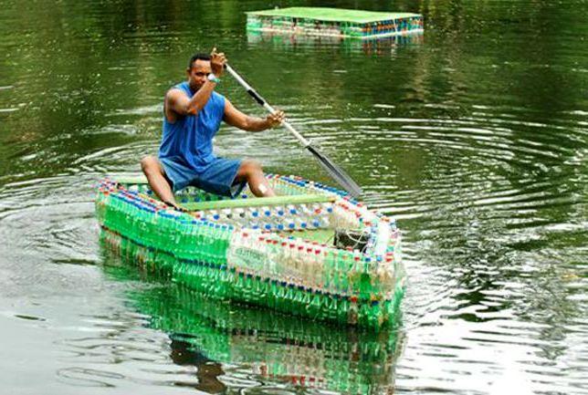 как сделать от мешков и бутылок лодку
