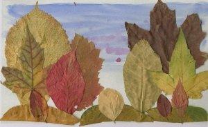 Композиция из листьев на тему осень