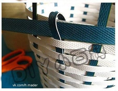 Плетение корзин из ленты упаковочной своими руками