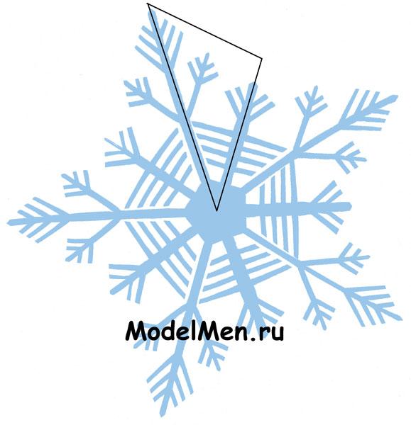 Как сделать снежинку из 6 лучей