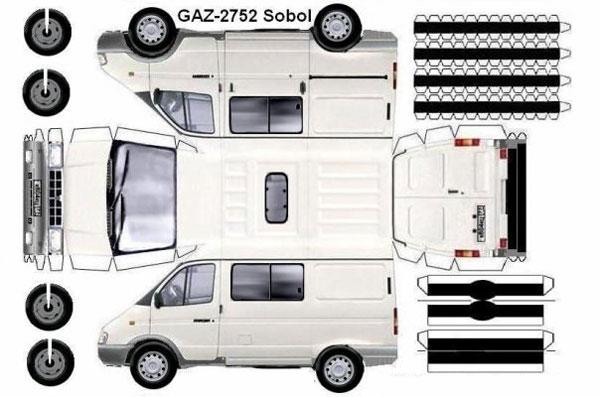 Машина ГАЗ 2752 из бумаги