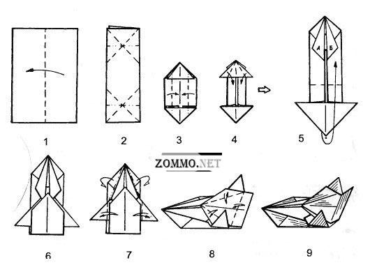 Машинка из бумаги оригами