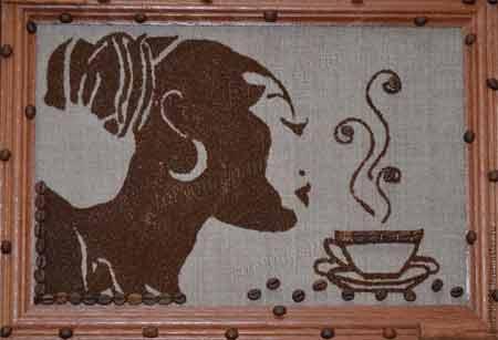 Картина с зерен кофе