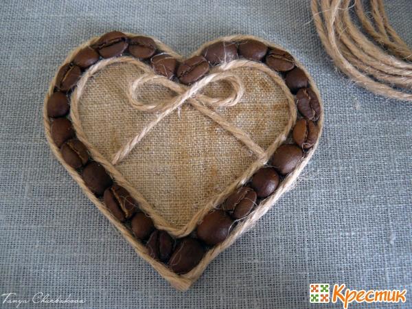 Сердце из кофейных зерен магнит на холодильник своими руками фото