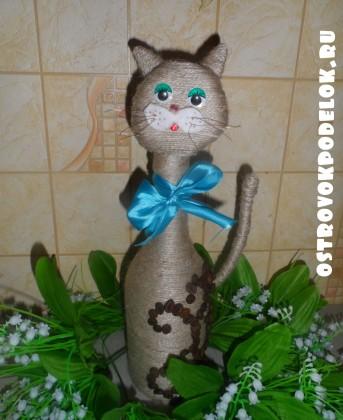 Кошки из джута и кофейных зерен мастер класс