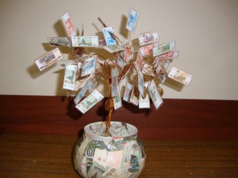 Денежное дерево из купюр своими руками на картине