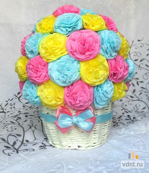 Букет цветы из салфеток своими руками