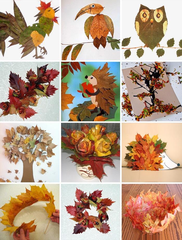 Фото поделки из листьев на тему осень в школу 1 класс