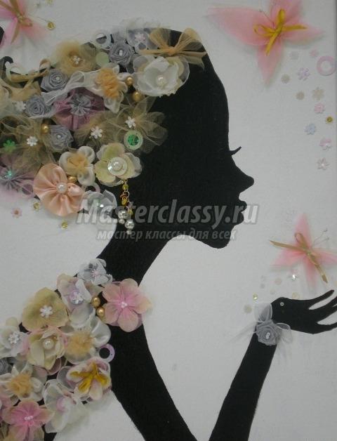 Картина из цветов из ткани