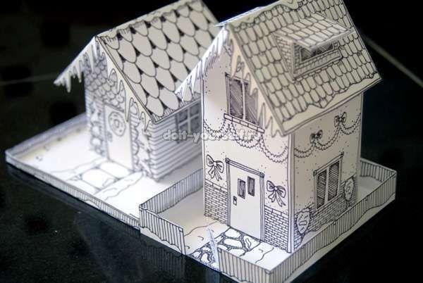Как сделать маленький домик из картона своими руками макет - Opalubka-Pekomo.ru