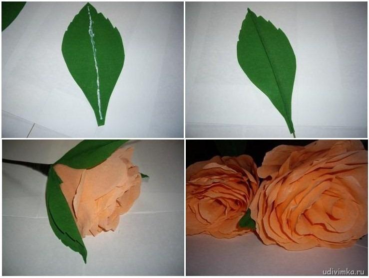 Листья для цветов из бумаги своими руками