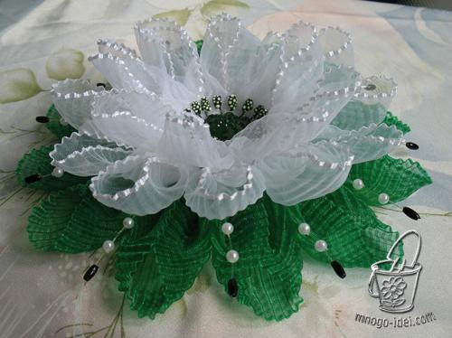 Как сделать цветы из органзы капроновых лент