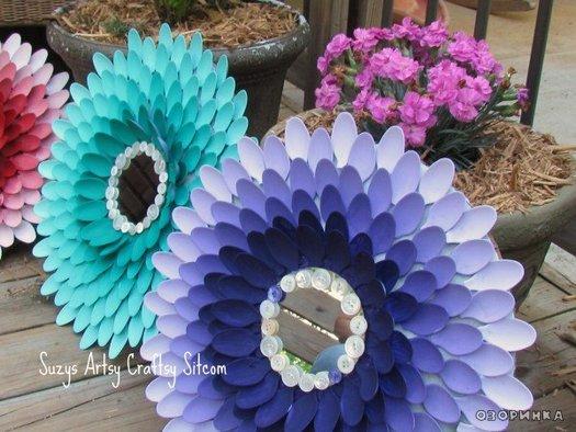 Как сделать цветы из пластиковых тарелок