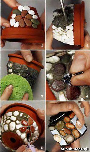 Как оформить горшок для цветов своими руками камушками 20