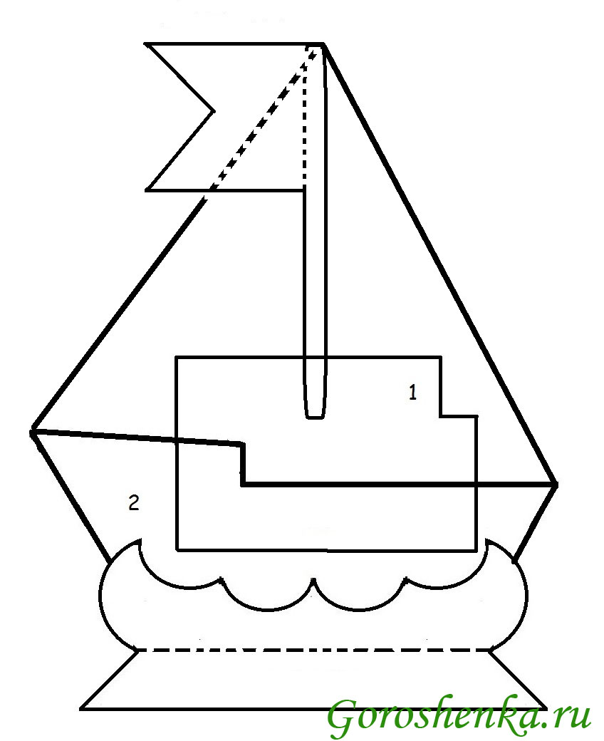 Макет кораблика для открытки 32