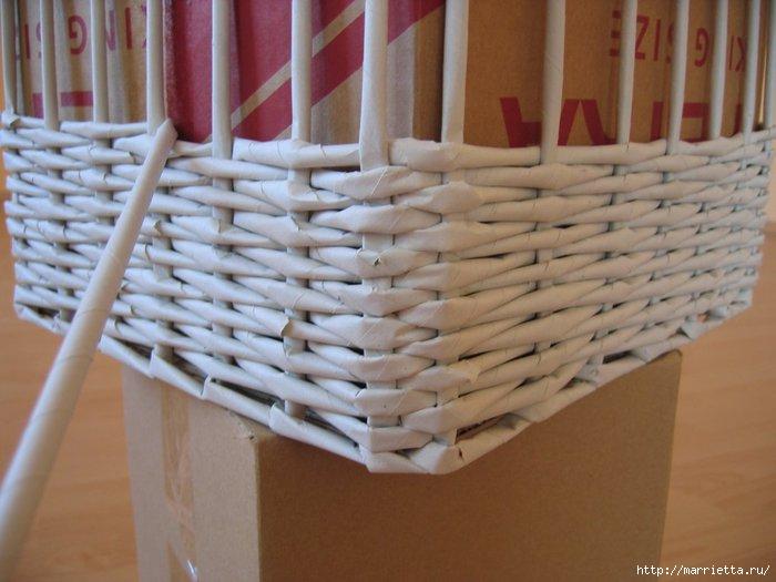 Плетение корзин из газеты прямоугольные