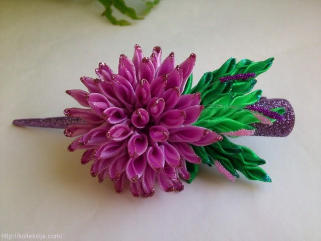 Астры цветы из атласных лент своими руками видео
