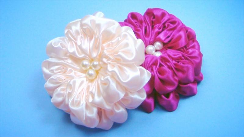Банты цветы из атласных лент