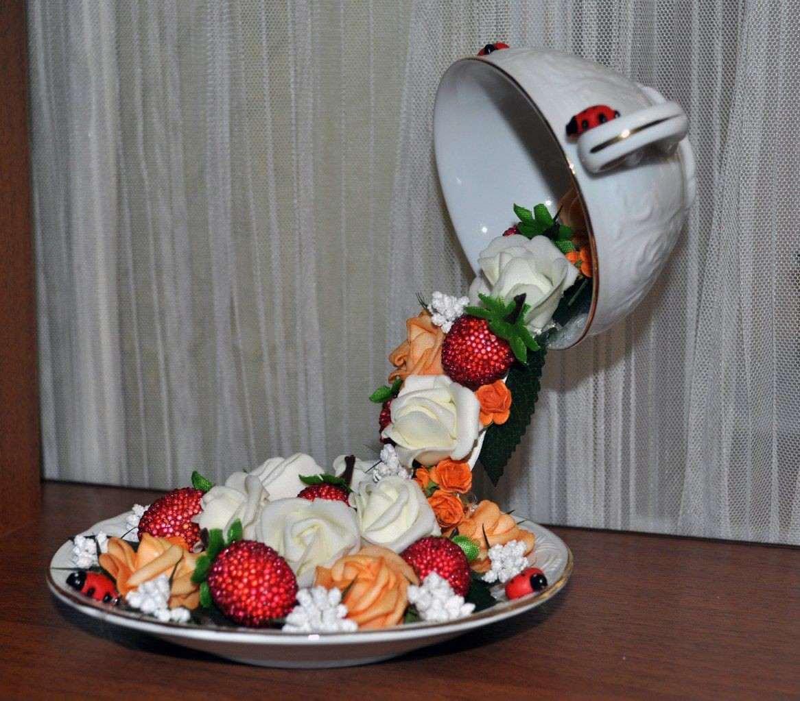 Как сделать топиарий из чашки с блюдцем своими руками