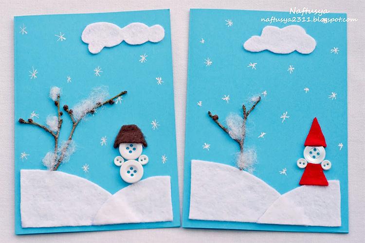 Новогодняя открытка своими руками для детей 4 лет