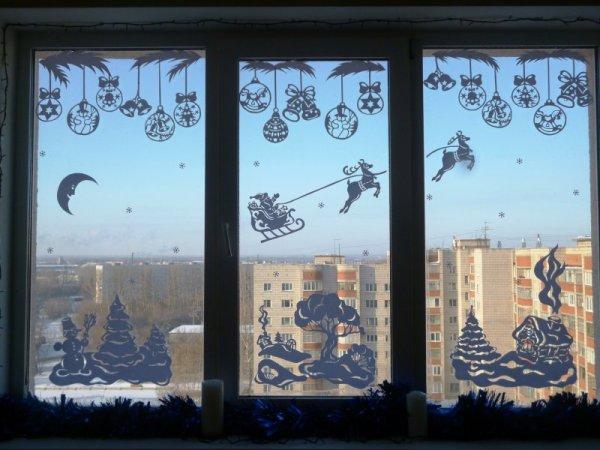 Снег на окнах  как сделать 115