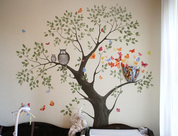 Изображение дерева на стене своими руками