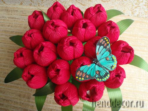Цветы с бумаги своими руками с конфетами