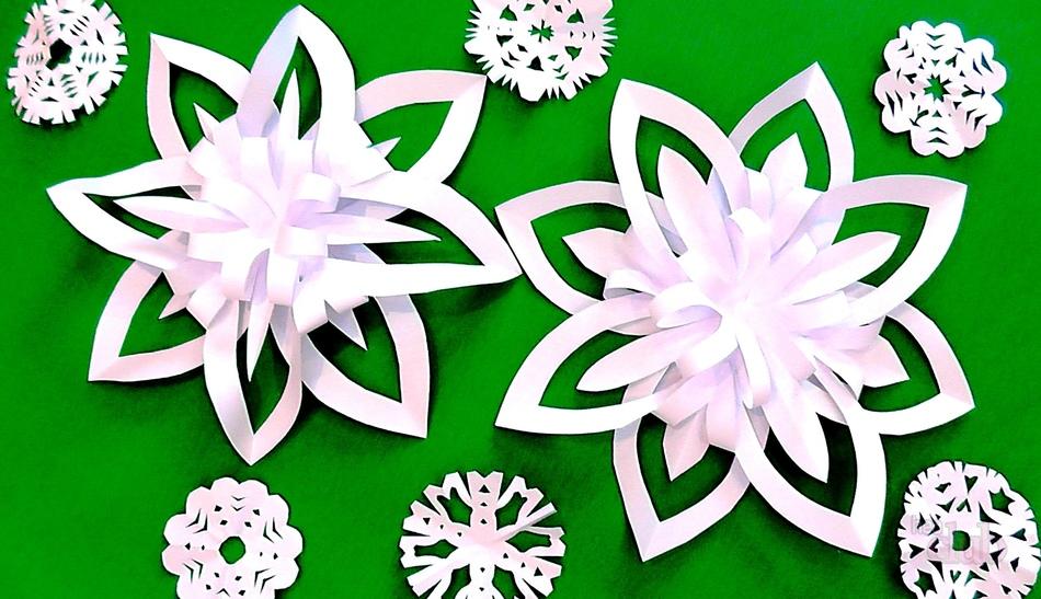 Снежинки своими руками из цветной бумаги