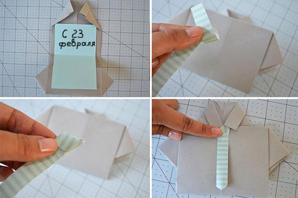 Сделать открытку своими руками рубашка с галстуком 13
