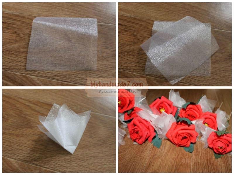 Розы из оберточной бумаги своими руками 39