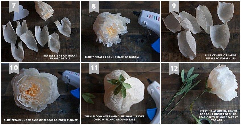 Как сделать пион из бумаги  поэтапно фото