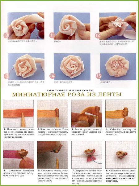 Легко розы из лент своими руками пошаговое