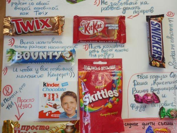 Открытка с шоколадками