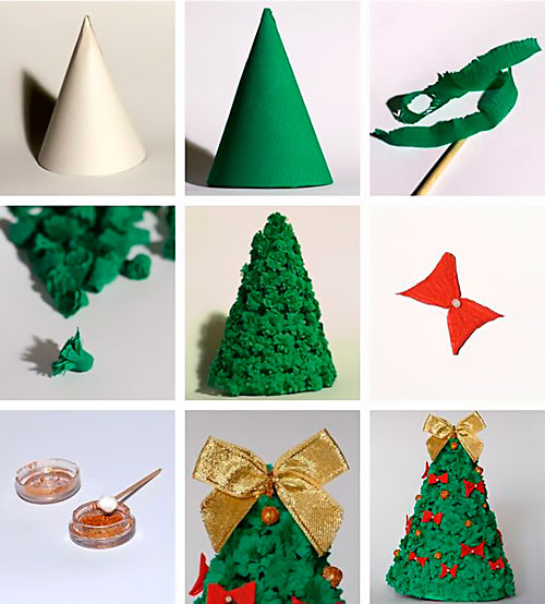 Новогодние игрушки из креповой бумаги своими руками