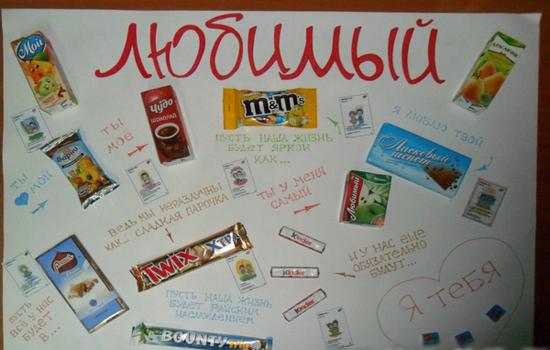 Плакат со сладостями парню на день рождения своими руками