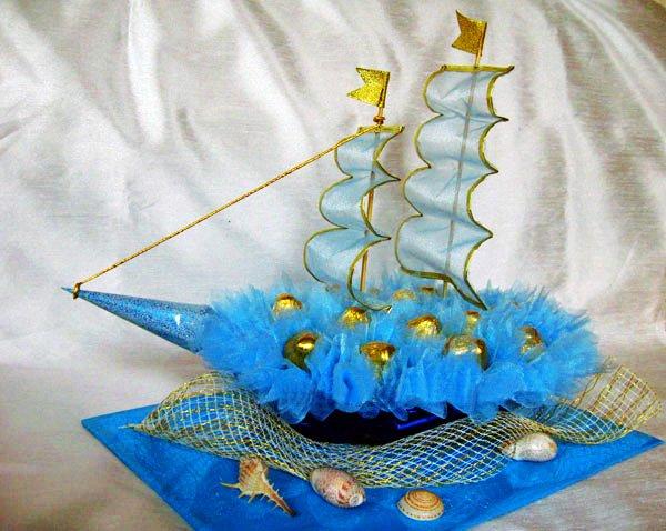 Сделать корабль из конфет своими руками пошаговое фото