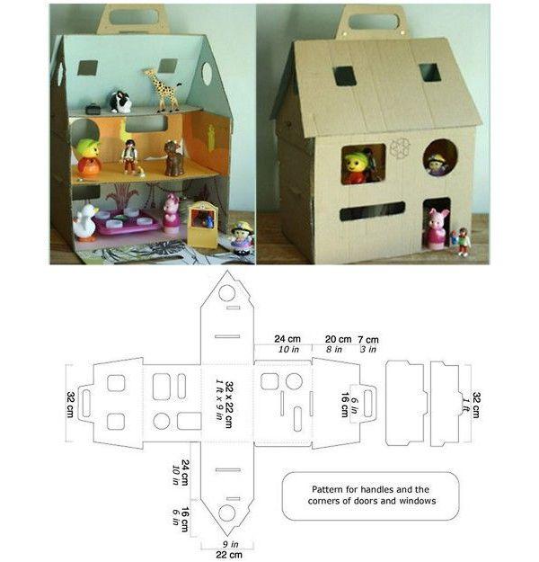 Картонный кукольный домик своими руками схема