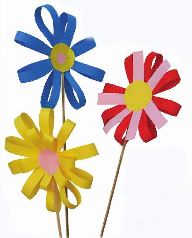 Цветы своими руками из бумаги на палочке