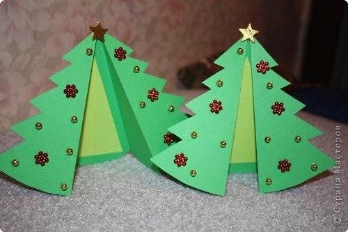 Новогодние открытки елочки своими руками