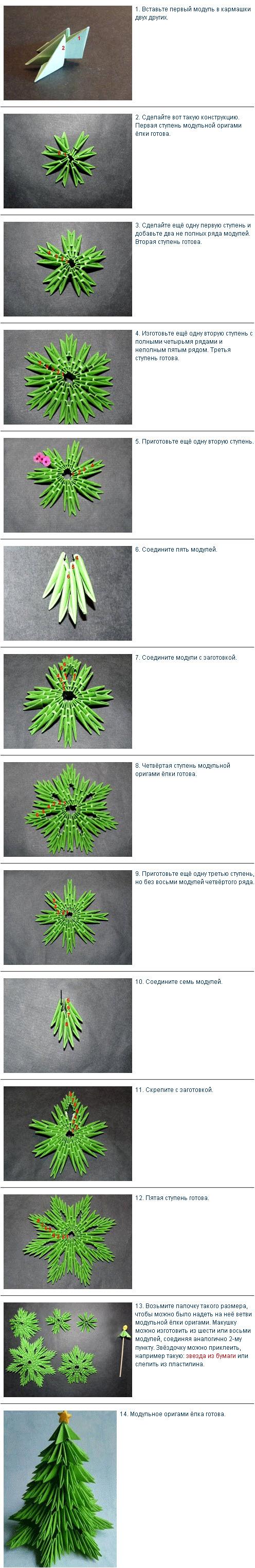 Елка модульное оригами схема