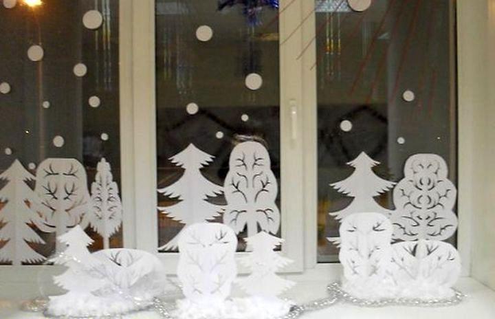 Новогодние украшения на окно  видео