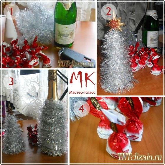 Оформить шампанское к новому году мастер класс