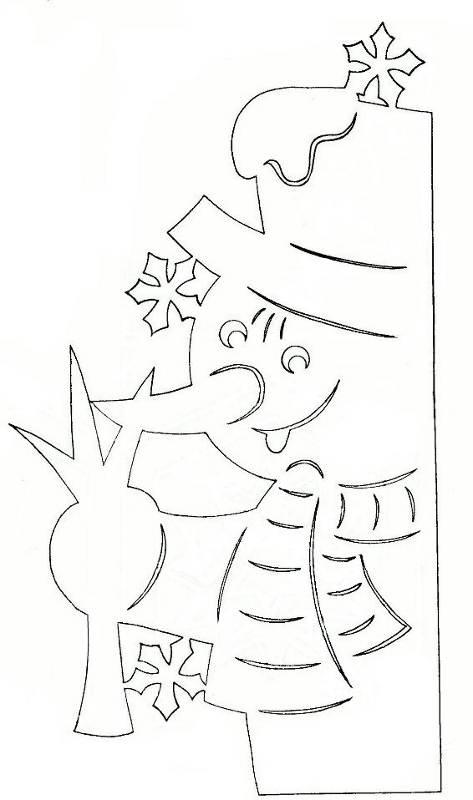 Трафарет украшения из бумаги на новый год